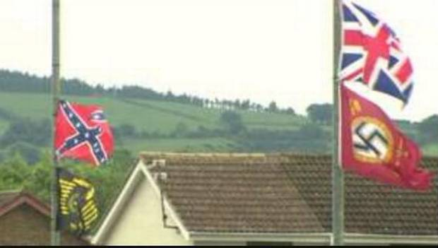 Nazi and Confederate flags over Carrickfergus 2015